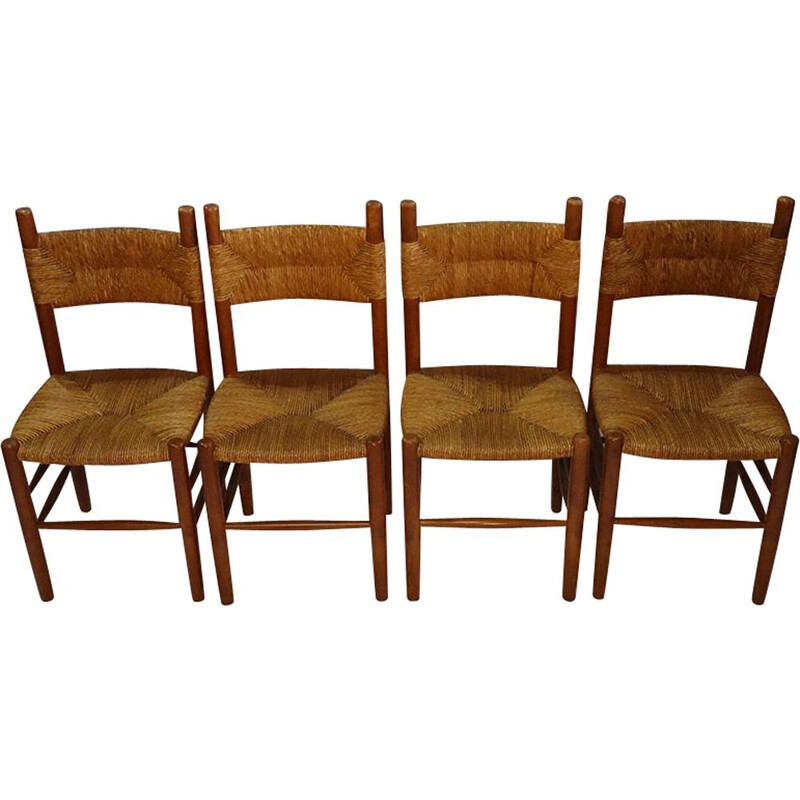 Suite of 4 vintage chairs in wood and straw 1960