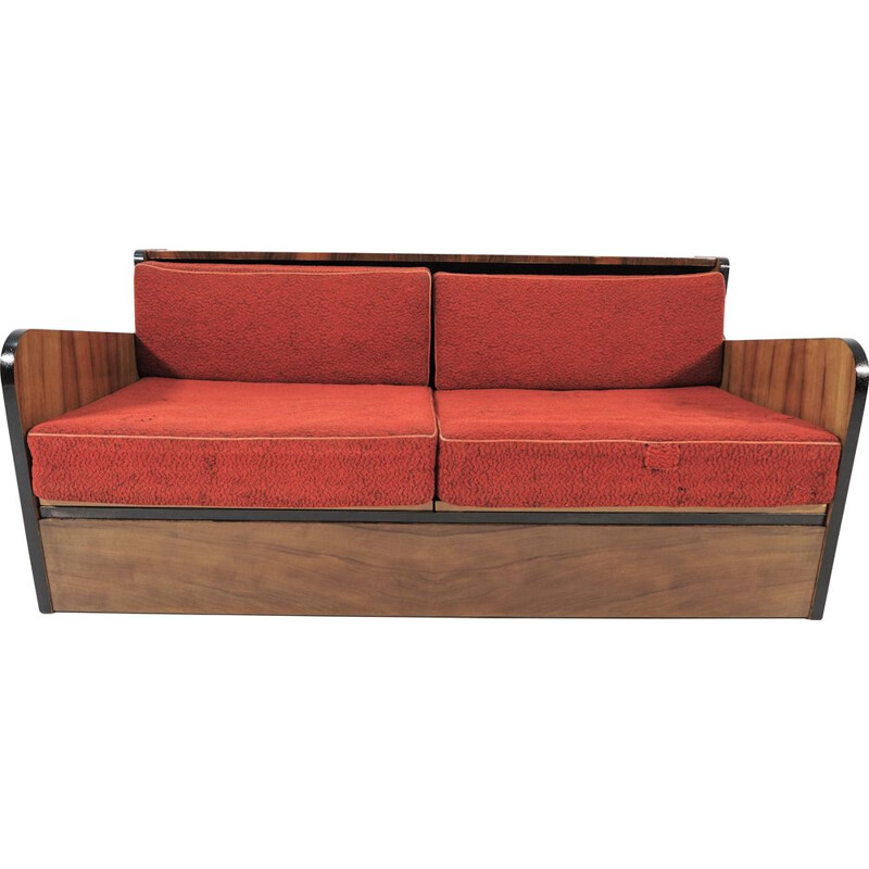 Vintage Walnut Sofa Bed, Art Deco 1960s