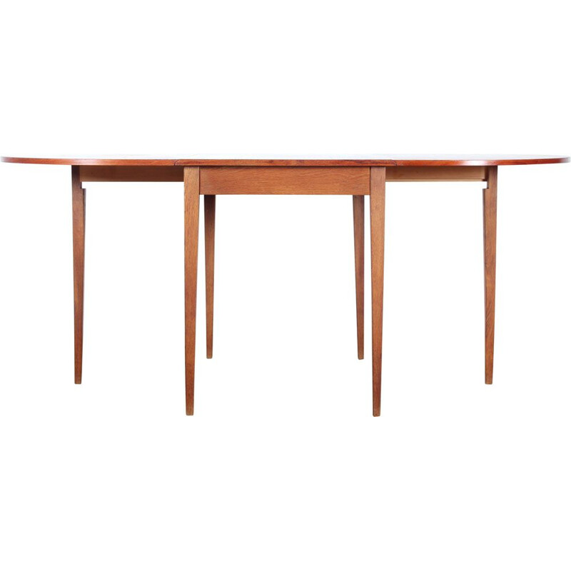 Vintage table with teak and oak flaps for 2 to 6 people Scandinavian style