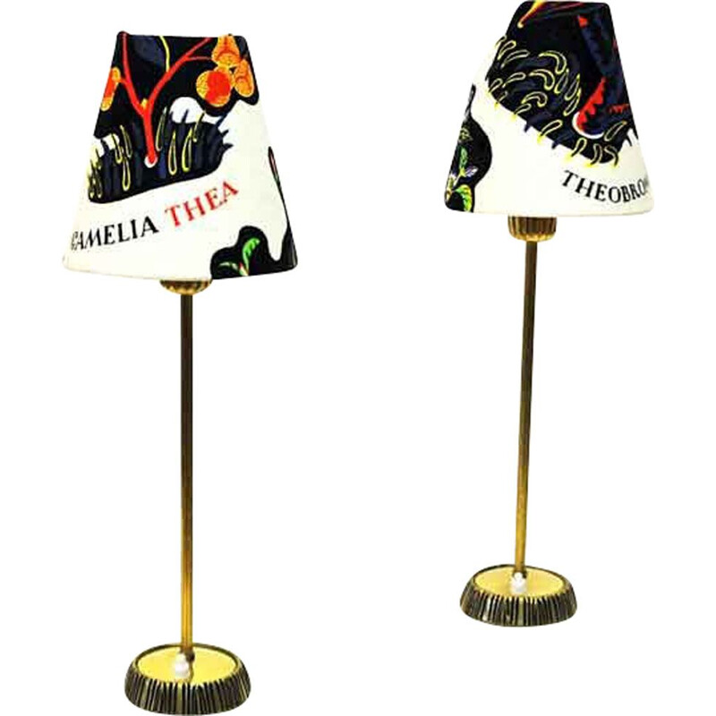 Pair of vintage Brass Table Lamps by Sonja Katzin for ASEA Swedish 1950s
