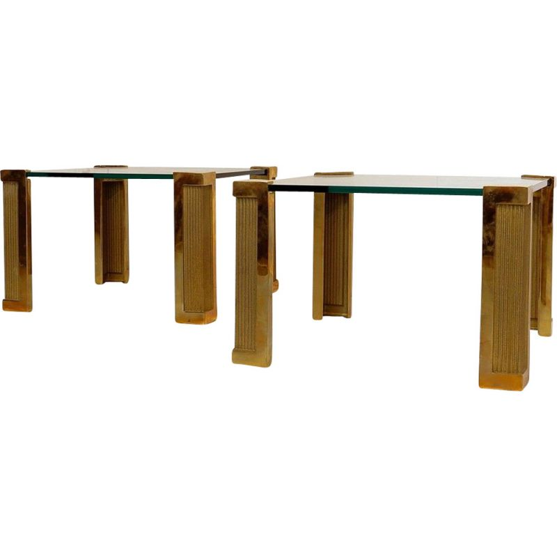 Pair of Coffee Tables .0vintage Model T14 In Brass And Glass By Peter Ghyczy For Ghyczy, 1970