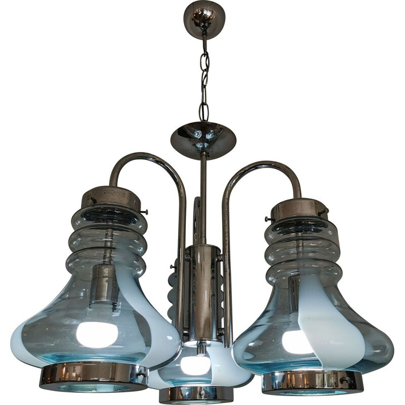 Vintage industrial triple bell chandelier in murano glass and italian chrome 1960