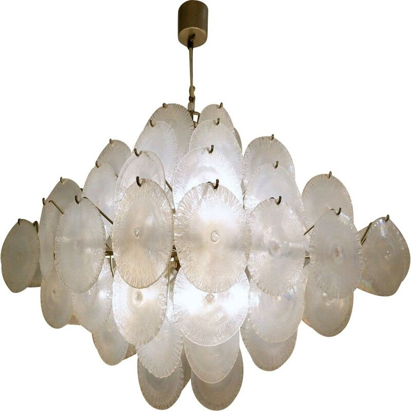 Vintage Nason chandelier with 1960 Murano glass discs
