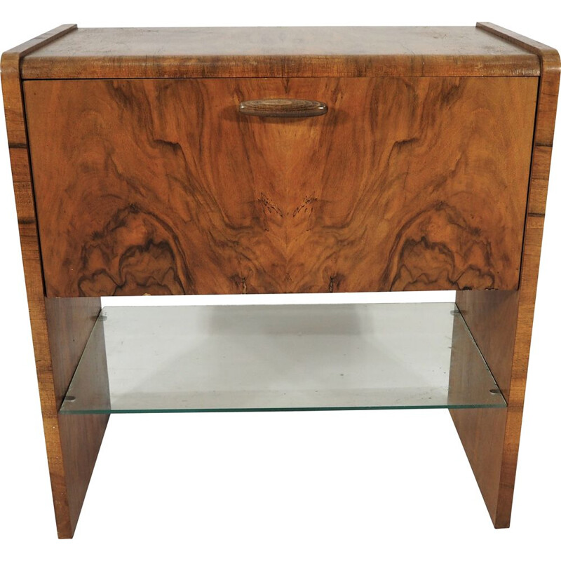 Vintage Walnut Art Deco Cabinet, 1960s