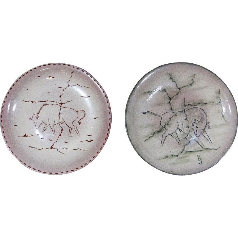 Pair of  vintage terracotta wall plates by Ad Gubbels, Netherlands 1970s
