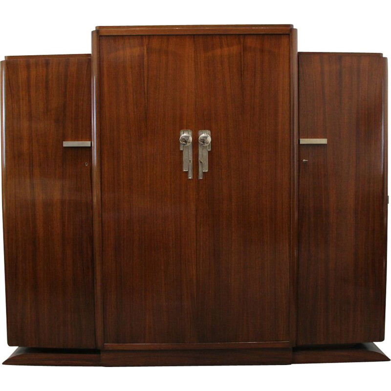 Large vintage Art Deco French Rosewood Wardrobe, 1930s