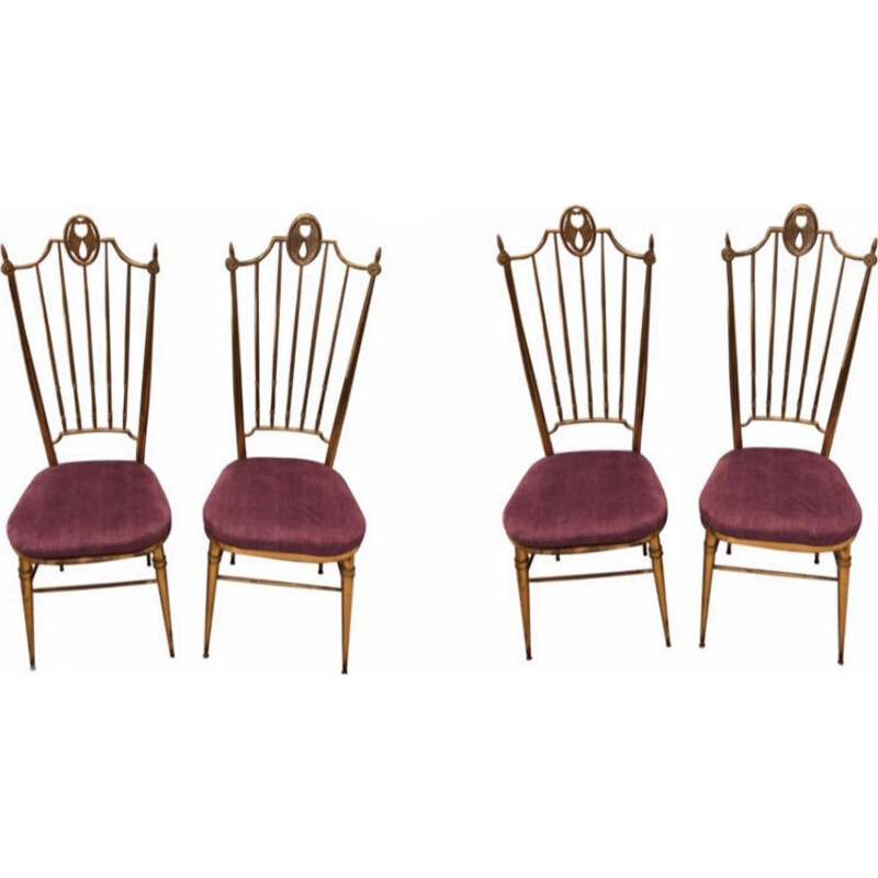 Set of 4 vintage Brass and Purple Velvet Chiavari Chairs, Italy 1960