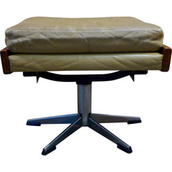 Vintage ottoman in leather and chromed metal - 1960s