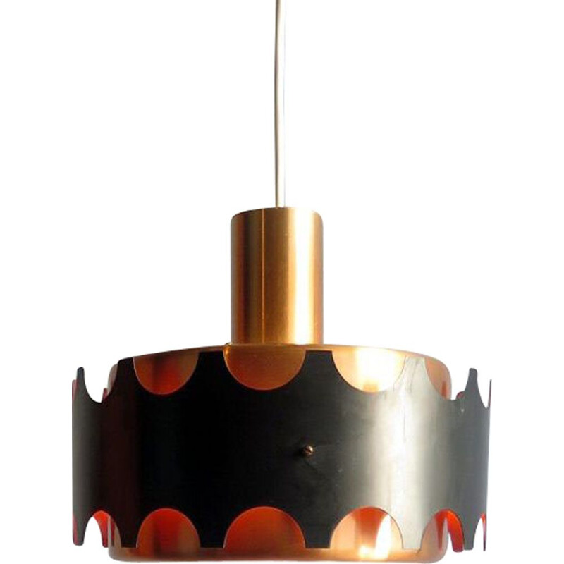 Vintage Hanging lamp coppered and black aluminium 1960
