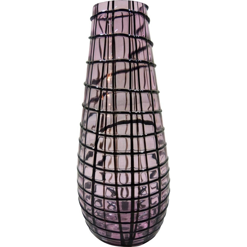 Large vintage  glass vase Yuba by Paolo Crepac for Vistosi 2002