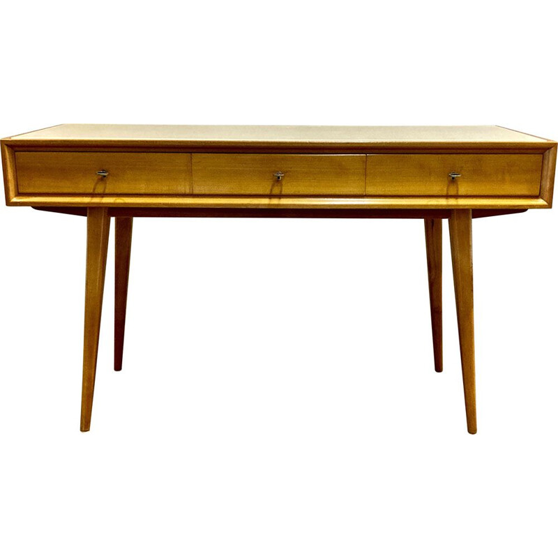 Vintage Beech and Scandinavian opaline desk 1950's