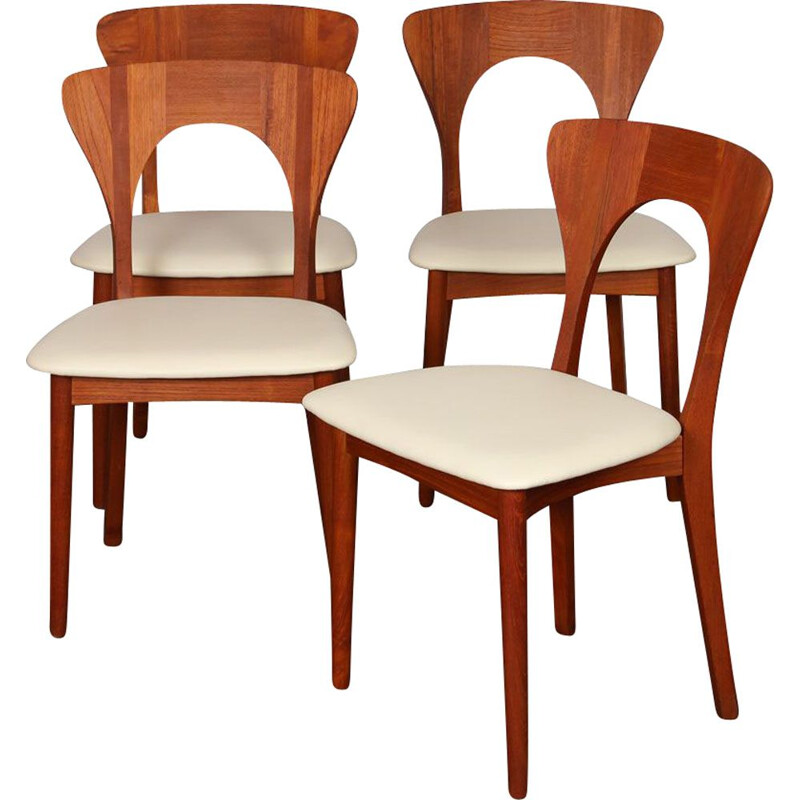 Suite of 4 vintage teak chairs by Niels Koefoed scandinaves 1958