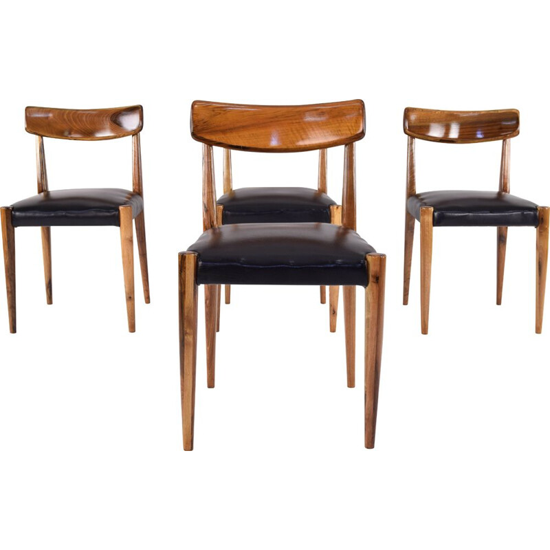 Set of 4 Mid Century Danish Oak Dining Chairs, Scandinavian 1950s