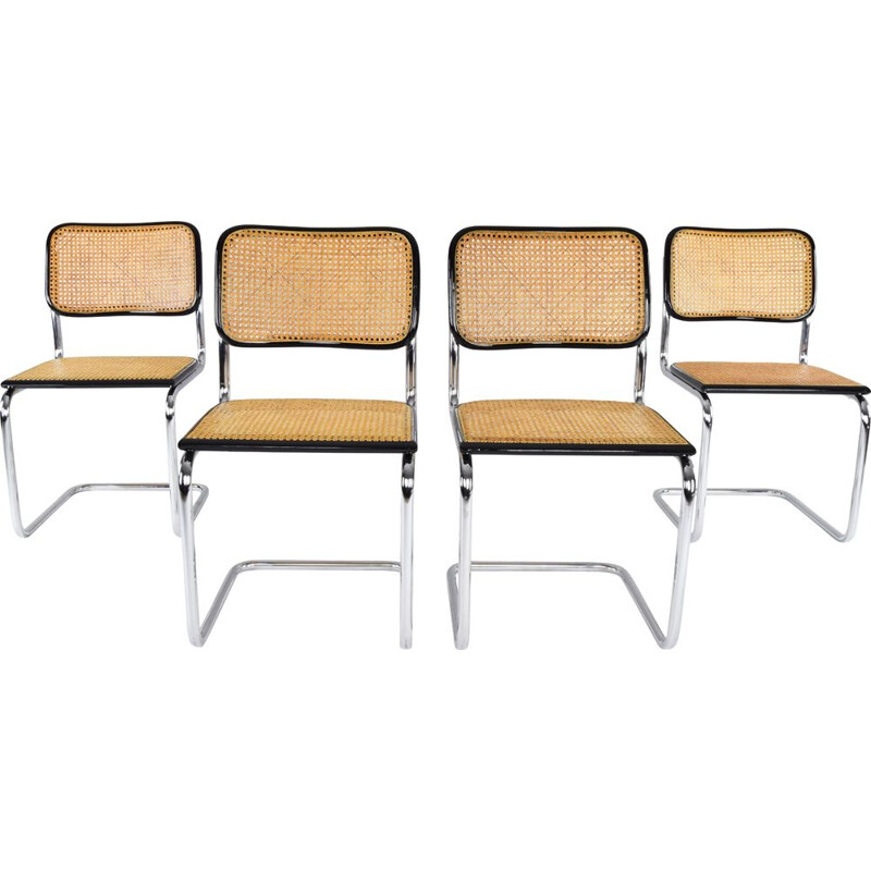 Set of 4 Cesca Chairs Marcel Breuer B32 , Italy 1970s