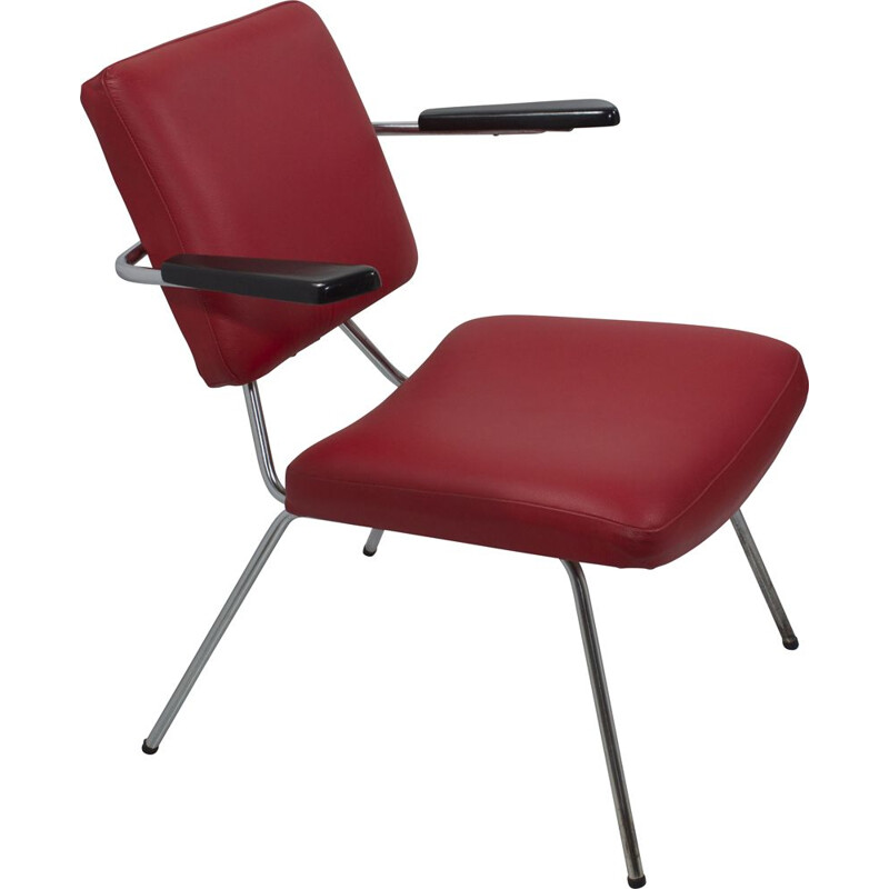 Vintage red leather armchair with armrests 1960