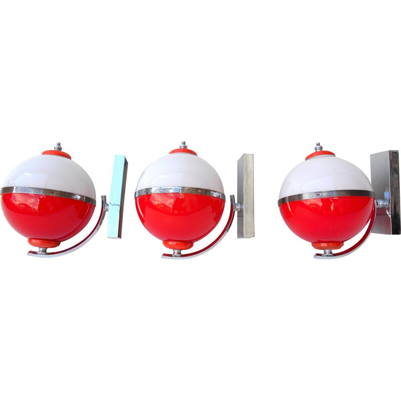 Set of 3 Italian sconces in glass and chromed steel - 1960s