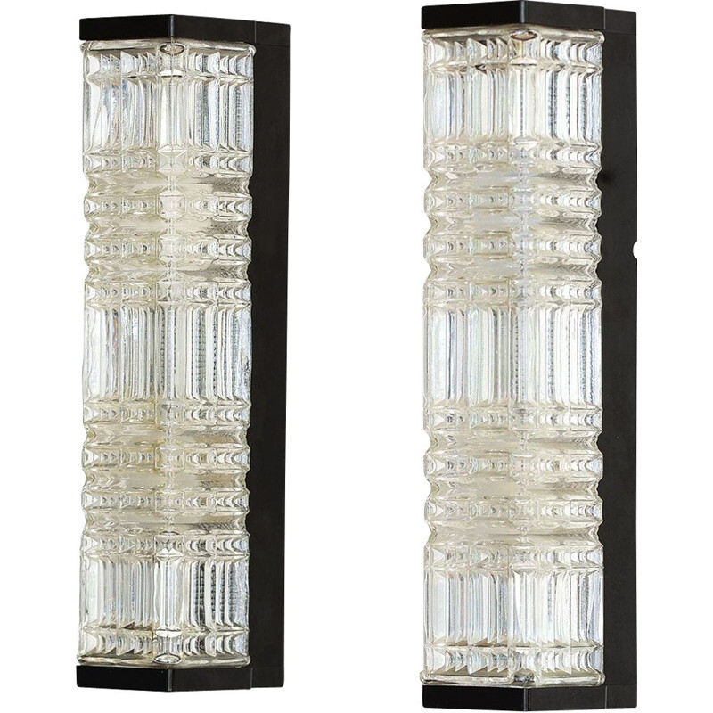 Pair of vintage glass wall lightssconces by HoSo. Germany 1970s
