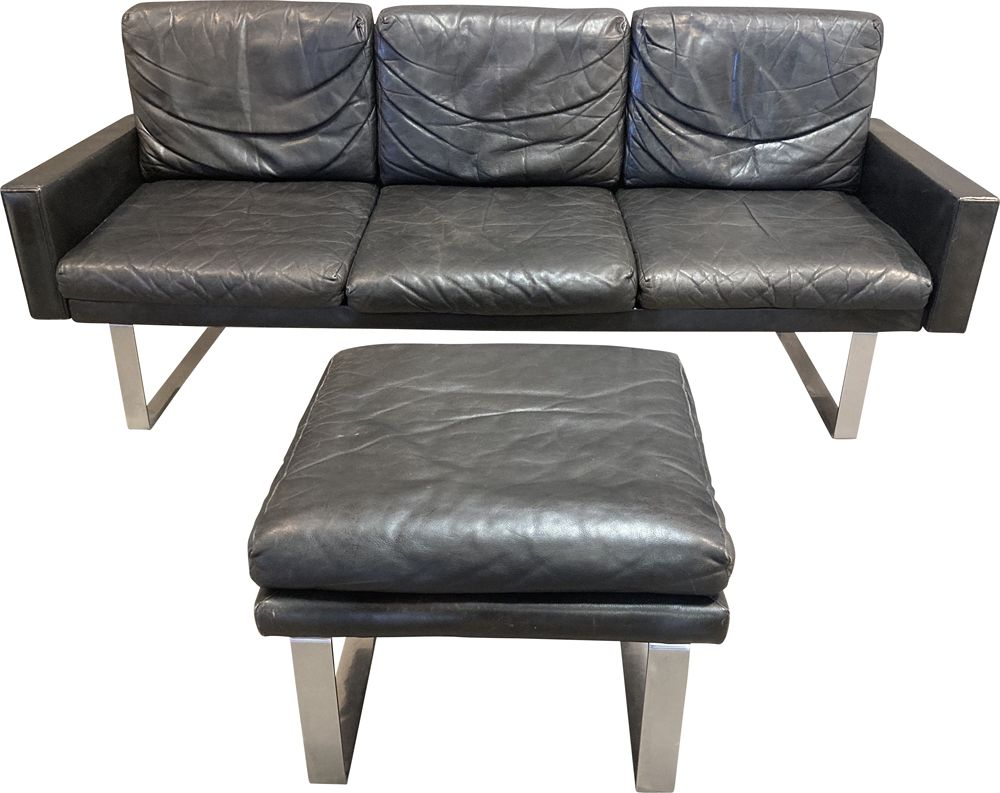 Black Leather Sofa And Its Ottoman 1960