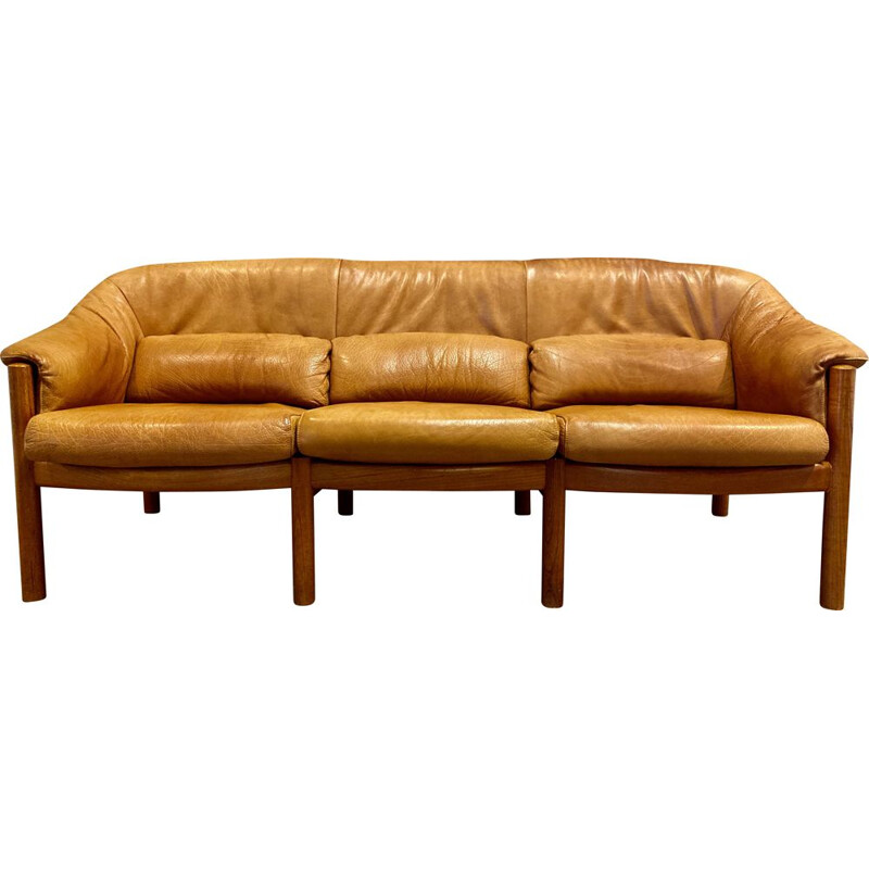 Vintage sofa teak and scandinavian leather 1950