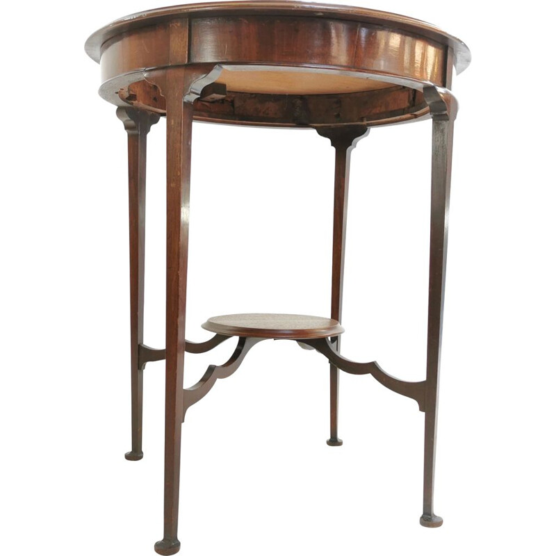 Vintage Circular Side Occasional Table Antique Edwardian Mahogany English
