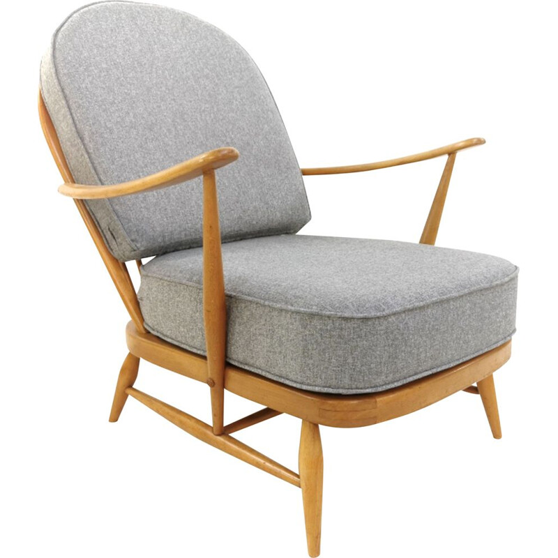 Vintage Grey Easy Lounge Armchair  Model 203 Ercol Herringbone