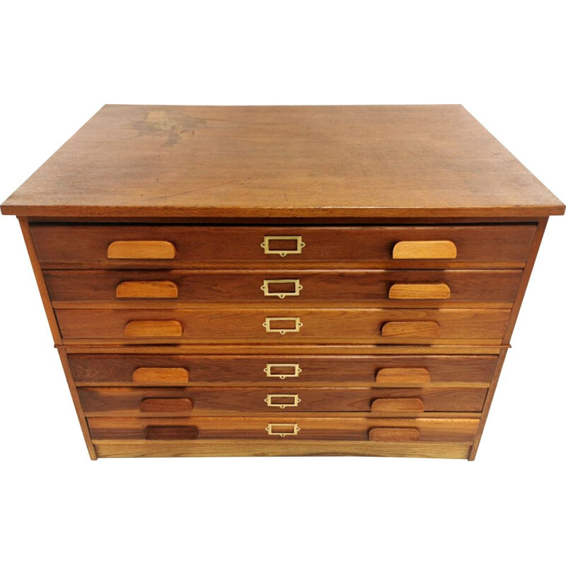 Vintage  Oak Plan Chest of Drawers Artists Map Table British