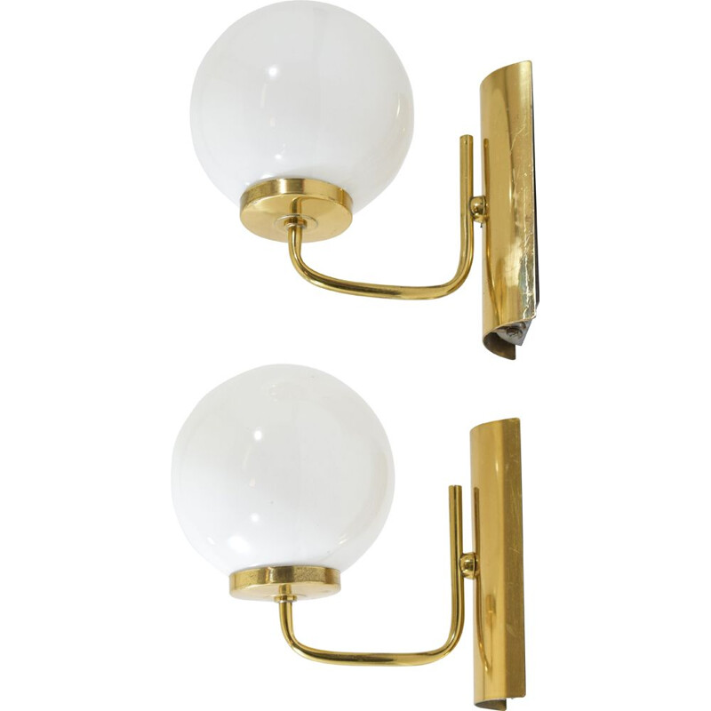 Pair of vintage brass sconces, opal globe