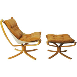 "Scandinavian ""Falcon"" chair and its ottoman, Sigurd RESSELL - 1970s"