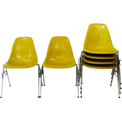 Set of 6 Herman Miller DSS chairs in yellow fiberglass, Charles and Ray EAMES - 1950s