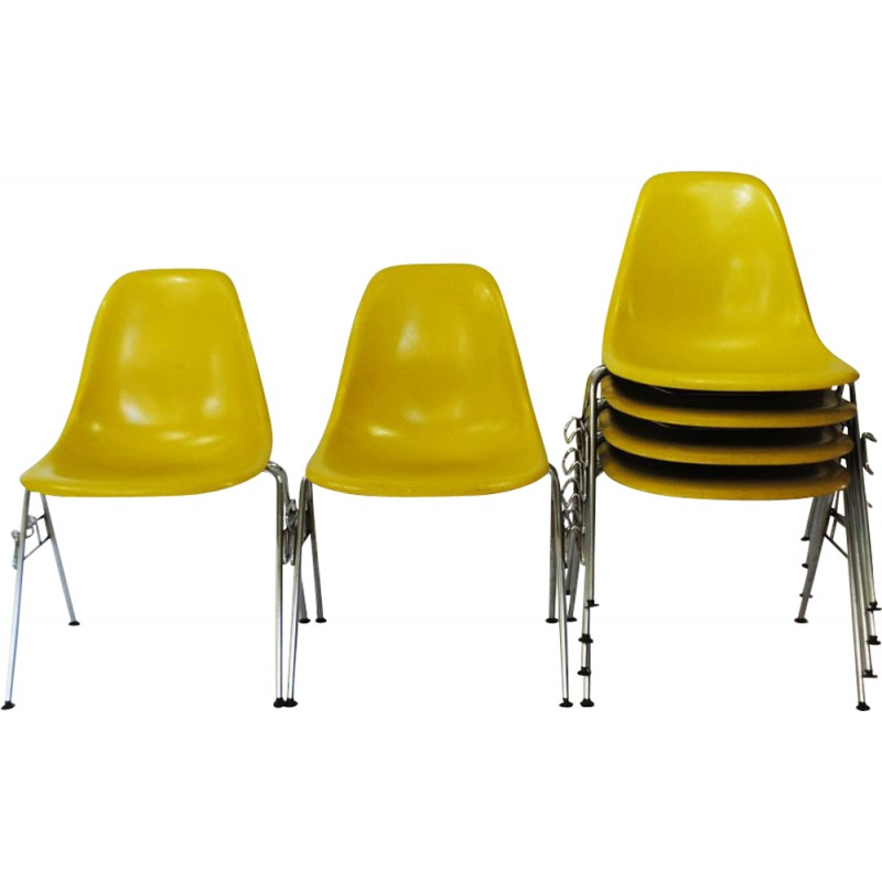 Set Of 6 Herman Miller DSS Chairs In Yellow Fiberglass Charles And Ray EAMES