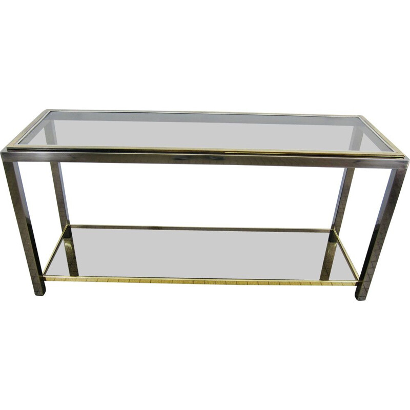 Vintage 2-tier chrome and brass console hollywood regency Belgo Chrom 1980