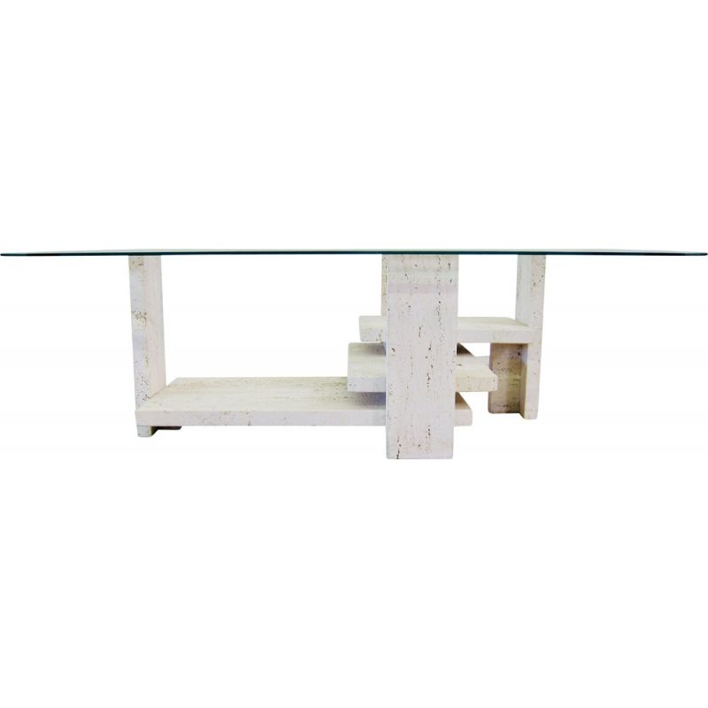Vintage sculptural coffee table by Willy Ballez  in travertine  1970s