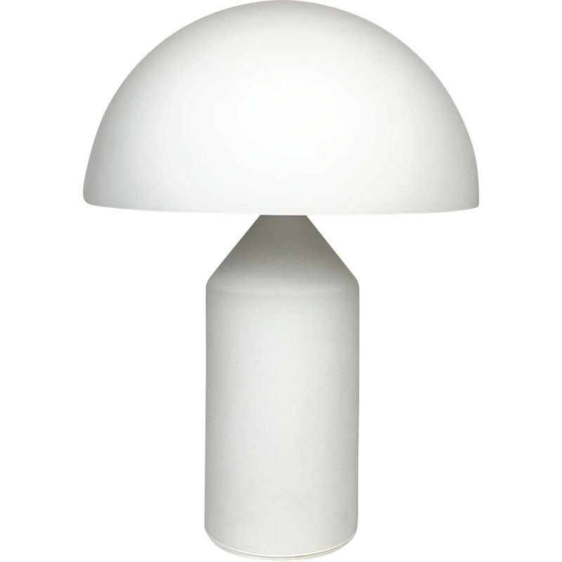 Vintage White Glass Atollo Table Lamp by Vico Magistretti for Oluce, 1960s
