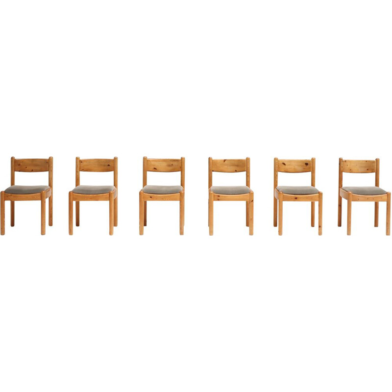 Set of 6 vintage dining chairs in pinewood