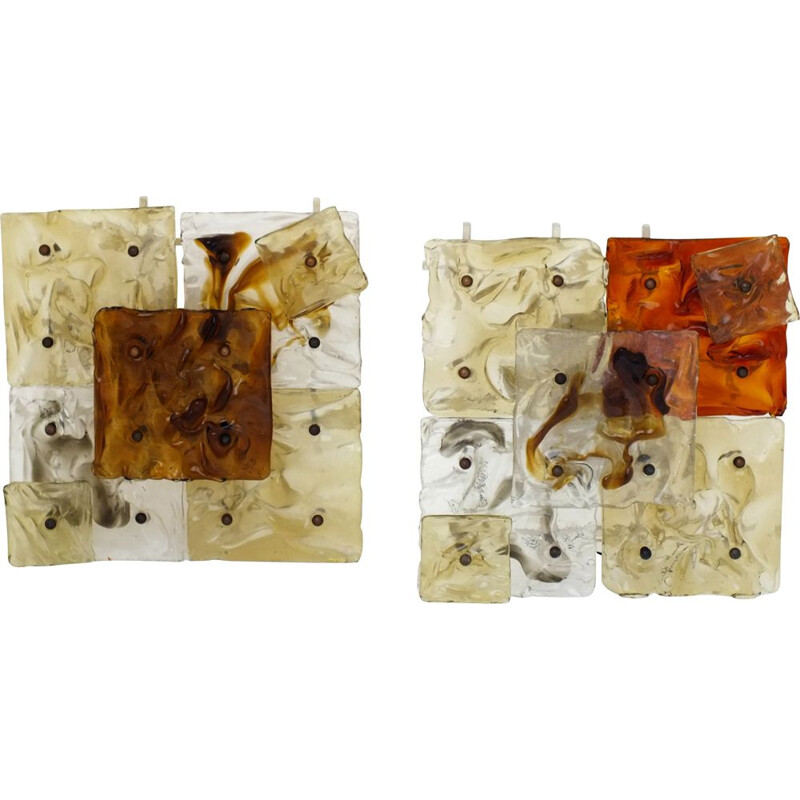 Pair of Vintage wall lamps patchwork space age glass Venini Italy 1970