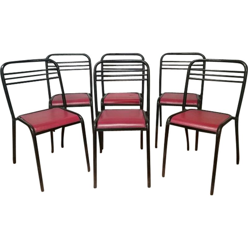 Set of 6 Vintage Tolix Chairs by Jean Pauchard for the Dijon 1950 campus