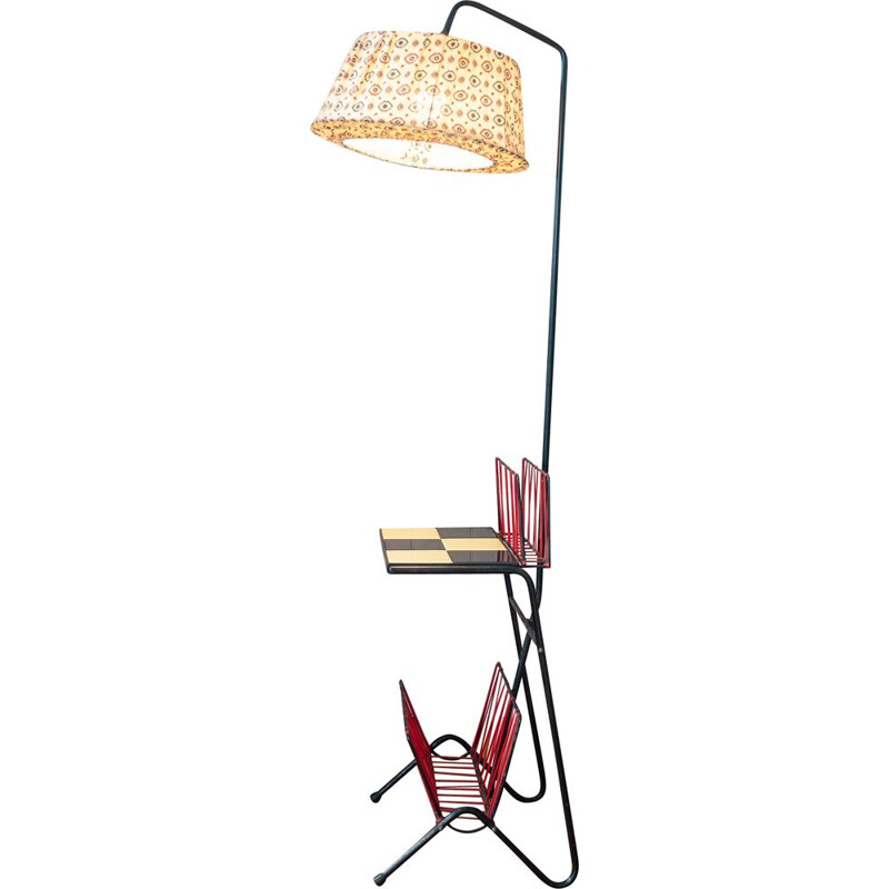 Vintage reading light composed of fabric lampshade and 2 newspaper doors 1960