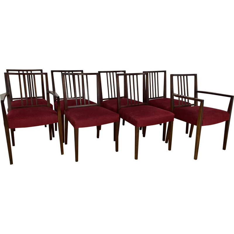 Set of 8 Mid Century Dining Chairs rosewood  by Archie Shine 1960s