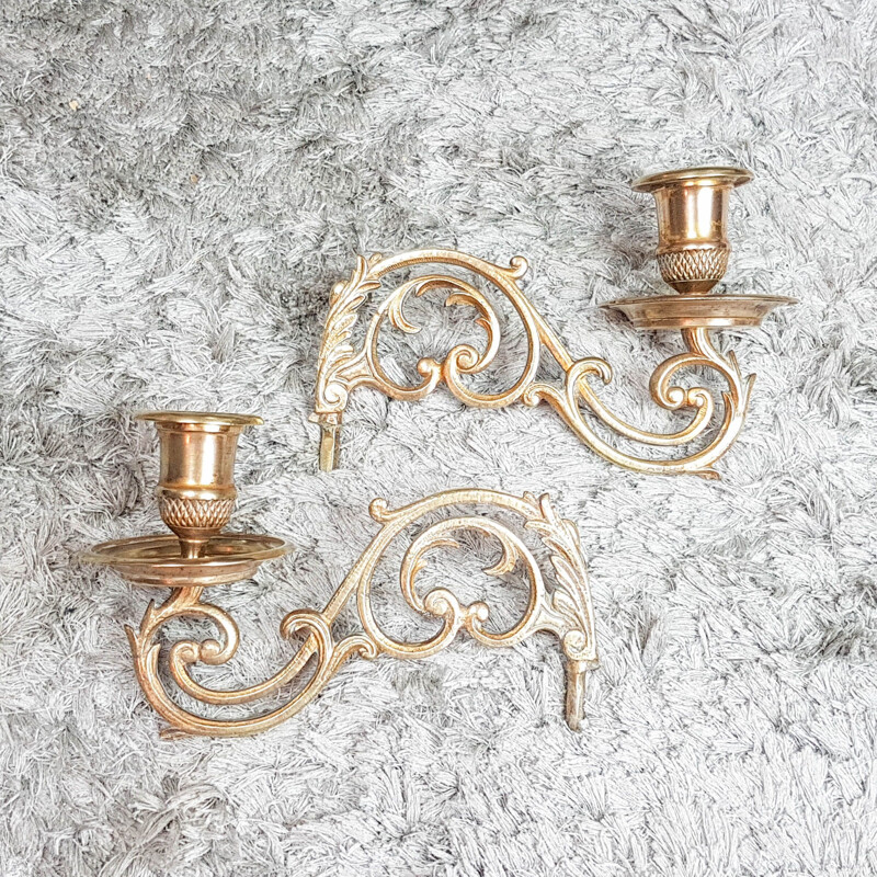 Pair of Art Nouveau style bronze vintage piano candleholders Soliflore Piano 1900