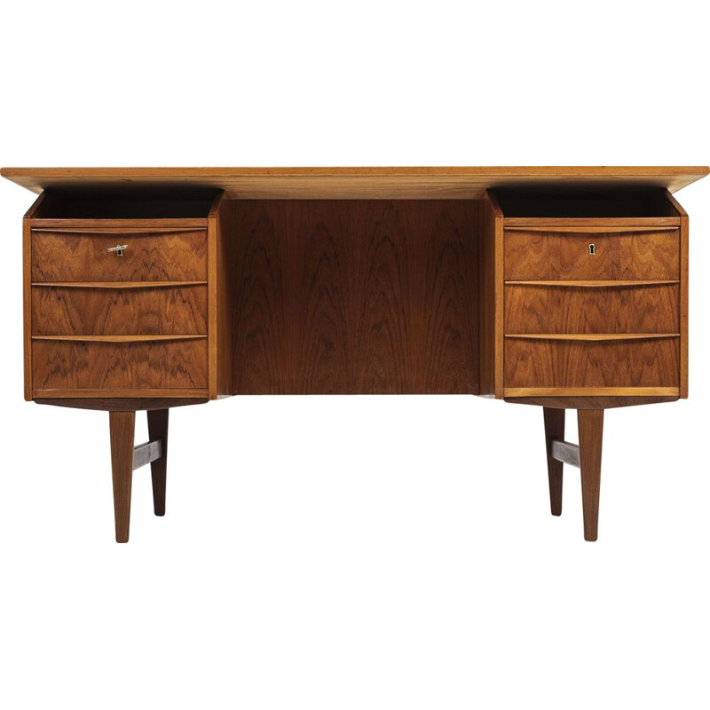 Vintage teak desk with bar, 1960s