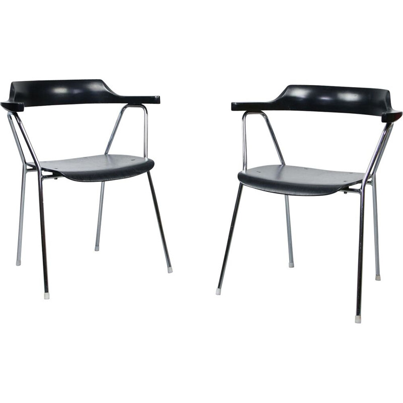 Pair of vintage 4455 black dining chairs by Niko Kralj