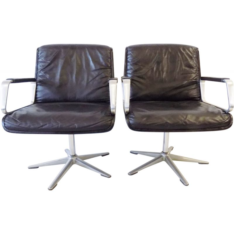 Pair of vintage black leather armchairs by Wilkhahn Delta 2000