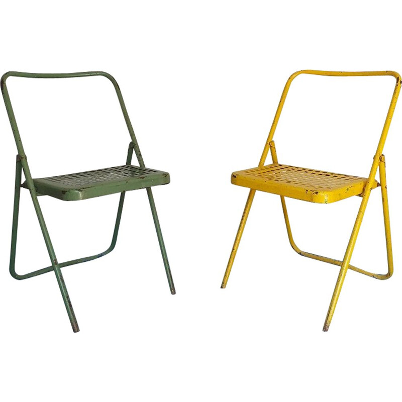 Vintage industrial folding chair 1950