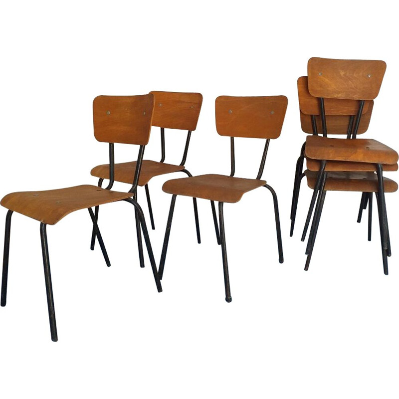Set of 6 vintage chairs Mullca 511 1950