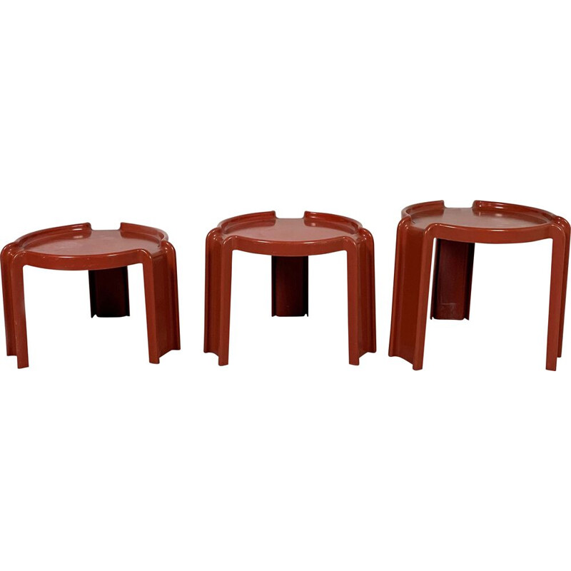 Vintage Red Nesting Tables by Giotto Stoppino for Kartell, 1970s