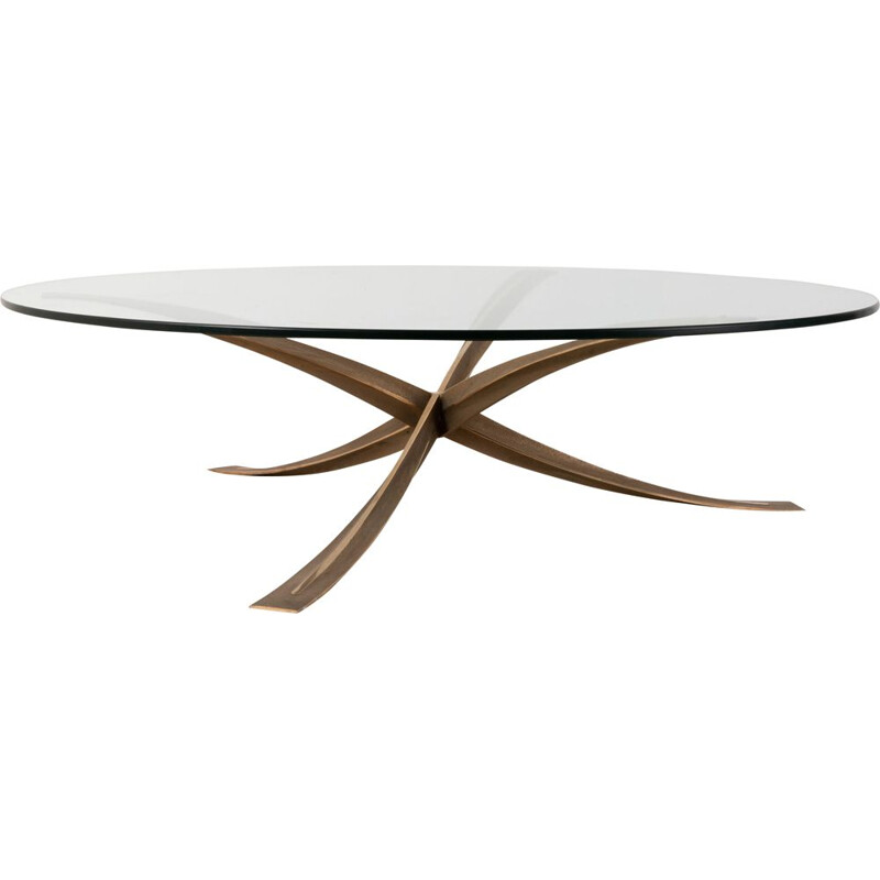 Vintage bronze coffee table Michel Mangematin 1960