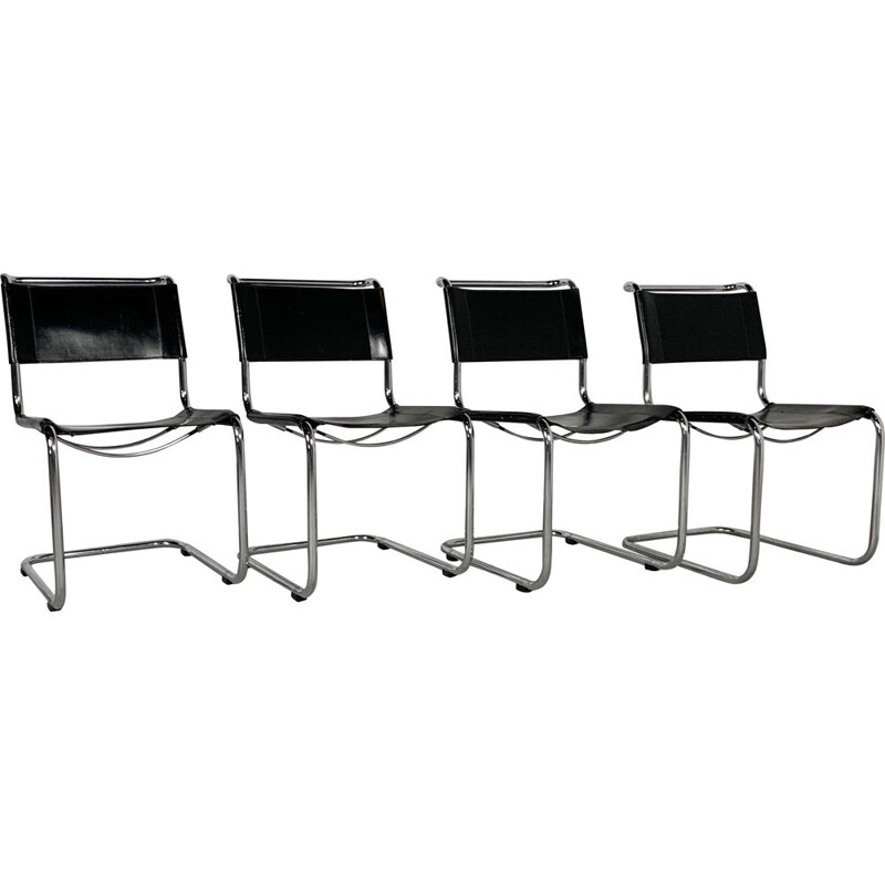 Set of 4 vintage  B33 Chairs in Leather by Marcel Breuer for Thonet, 1930s