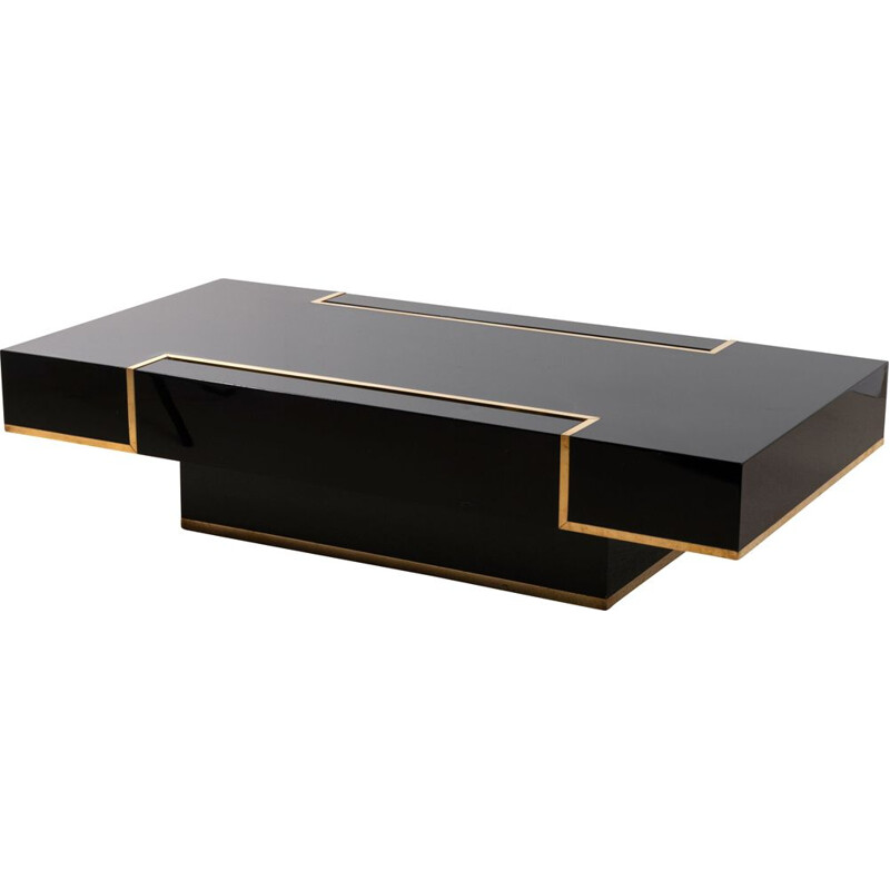 Vintage lacquer and brass coffee table by JC Mahey 1970