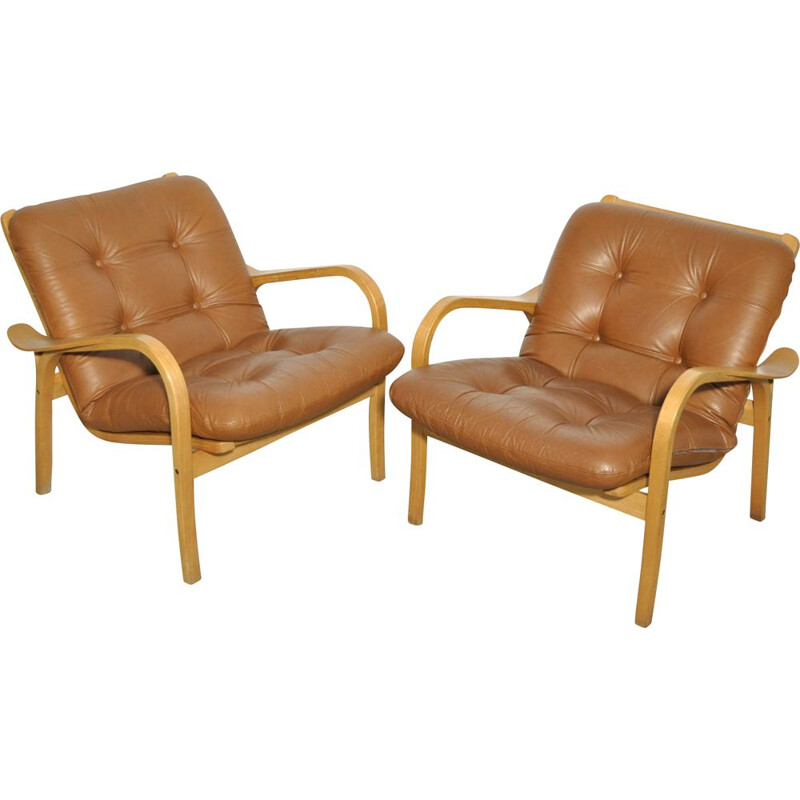 Pair of Vintage lamino easy armchairs by Yngve Ekström for Swedese, Sweden 1970s