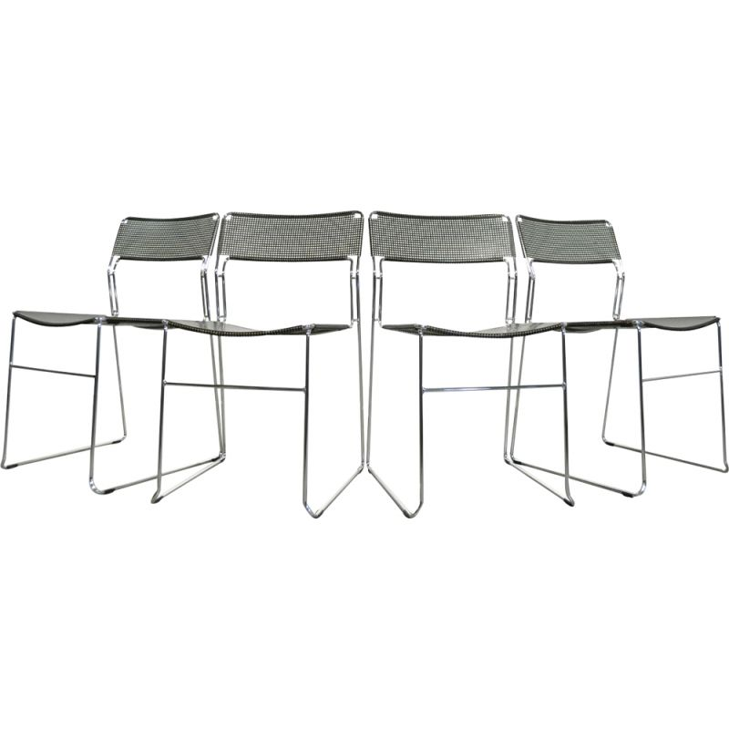 Set of 4 vintage stackable dining chairs, model Sultana, from the Italian house Arrben International, 1980s